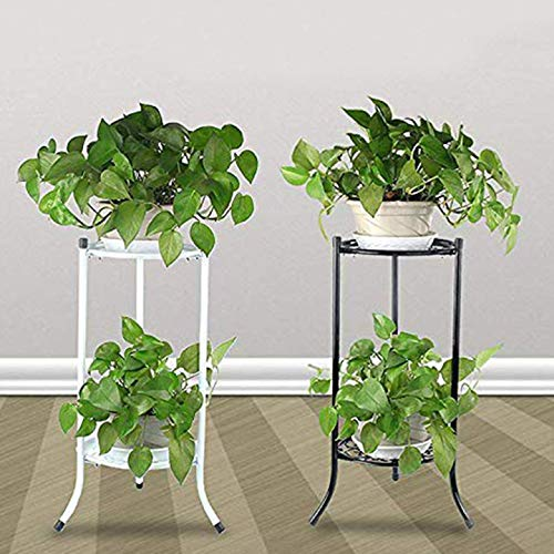 Metal 2 Tier Indoor Display Planter Balcony Flower Pot Trays Bonsai Holder Plant Stand Shelf Home Decor(White)