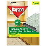 Baygon Trappola Adesiva, Efficacie contro Scarafaggi e Pesciolini d'Argento, Protezione per la Cucina, 1 Confezione da 62.5 g