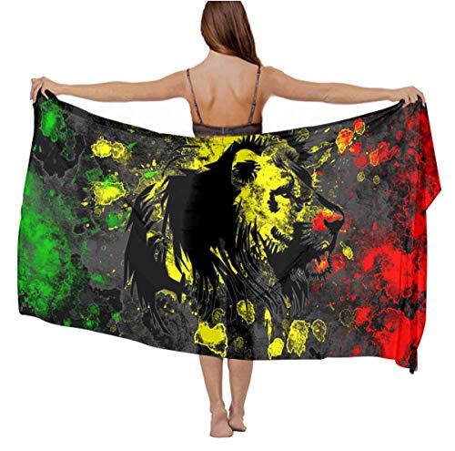 Stylish Scarf Wrap - Wedding Evening Party Swimsuit Shawls Premium Silk Romantic Head Wrap Long Summer Wrap Sunscreen Paisley Scarf - The Lion Of Judah Rasta Rastafari Jamaica Reggae Scarves