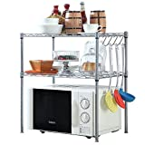 HOMFA Kitchen Microwave Oven Rack Shelving Unit, 2-Tier Adjustable Stainless Steel Storage Shelf