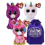 TY Beanie Boos Unicorns Rosette, Pixy & Fantasia Gift Set Bundle with Matty's Toy Stop Storage Bag - 3 Pack