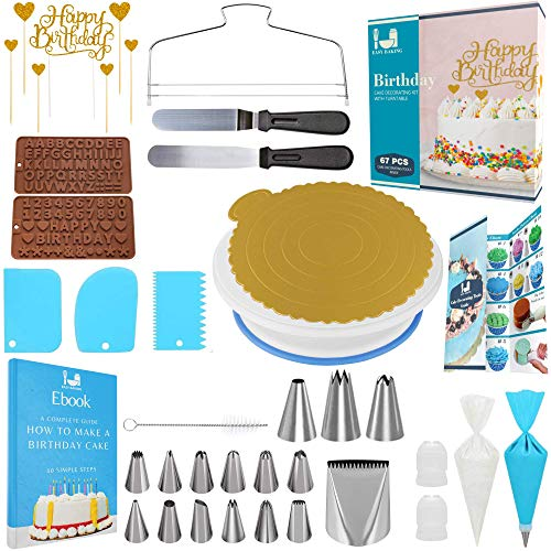 Cake Decorating Tools 67 pcs Cake Decorating Kit with Cake Turntable Cake Decorating Supplies
