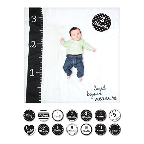 Lulujo 0628233455802 Baby's First Year Deluxe Blanket & Card Set, Loved Beyond Measure