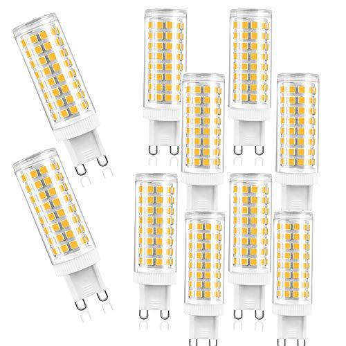 ZJYX G9 LED Ligero Bombillas 10W Equivalente a 100W Halógeno Bulbos, 1000LM, No Regulable, ángulo de Haz 360 °, AC 100-240V, sin Parpadeo, Paquete de 10,Warm White 3000k