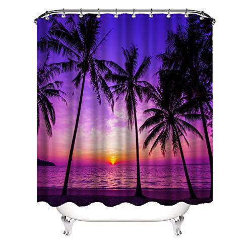 VividHome Sunset Beach Shower Curtain Tropical Palm Tree Landscape Waterproof Fabric Curtains for Bathroom Decor with 12 Hooks 72x72 Inches