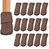 BLUECELL 16pcs Knitting Wool Furniture Socks/Chair Leg Floor Protector (Brown Color)