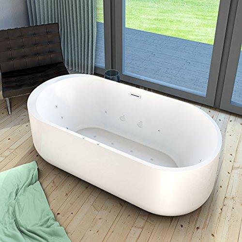 AcquaVapore freistehende Badewanne FSW26 170cm Whirlpool Luft & Wasser, Armatur:ohne Armatur +0.-EUR