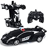 Transform Car Robot,1:18 Model RC Car Robot for Kids,Robot Deformation Car Model Toy Gift for Children,Electronic Remote Control Car with One Button Transformation & Realistic Engine Sounds (Black)