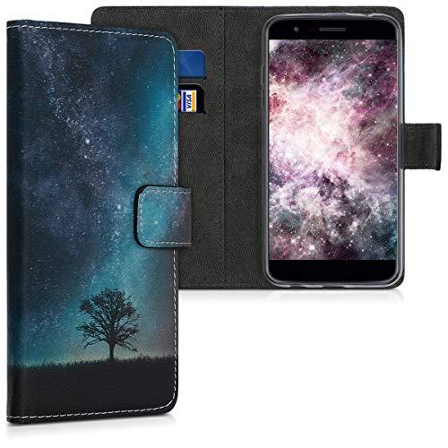 kwmobile Hülle kompatibel mit LG K11 / K11+ / K10 (2018) - Kunstleder Wallet Case mit Kartenfächern Stand Galaxie Baum Wiese Blau Grau Schwarz