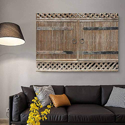 ParadiseDecor Rustic Decor Collection Mural Wall Art Wooden Gate with Metal Handle Sunlight Old House Entry Weathered Rustic Ornate Image for Men Camel Brown L36 x H24 Inch