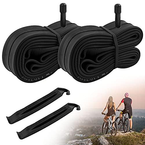 Favengo 2 Pack Fahrradschlauch 26x1.9/2.125 Bike Tube Gummi Rennrad Schlauch 26 Zoll Schwarze Fahrradschläuche mit 2 Reifenhebern Schläuche für den Austausch von Rennrädern/Mountainbikes