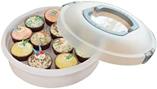 10 Inch Portable Pie Carrier with Lid and Tray 3-In-1 Round Cupcake Container Egg Holder Muffin Tart Cookie Keeper Food (Grey)
