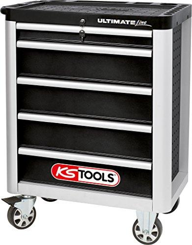 KS Tools 888.0005 ULTIMATEline Werkstattwagen,mit 5 Schubladen,schwarz/silber