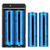 4 PCS Button top 5000mAh Battery 18650 Rechargeable Battery with 1 Pack Two Slot Charger for 18650 Flashlight, doorbell