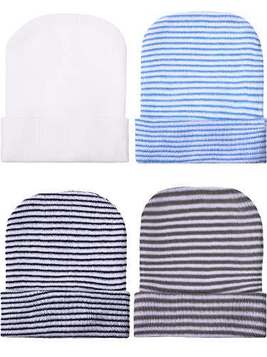 Geyoga 4 Pieces Newborn Baby Boy Hat Newborn Beanie Stripes Hat Toddler Soft Cute Knit Hat Infant Caps for Baby Boys 0-6 Months