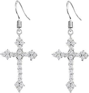 Fashion Earrings Silver Tone Cross Cubic Zirconia Drop Earrings