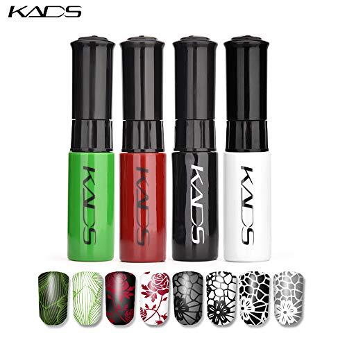 KADS 4-teiliges Set mit 10 ml Nagelkunst-Stempel-Lack, Nagelkunst-Dekorationswerkzeugen (17)