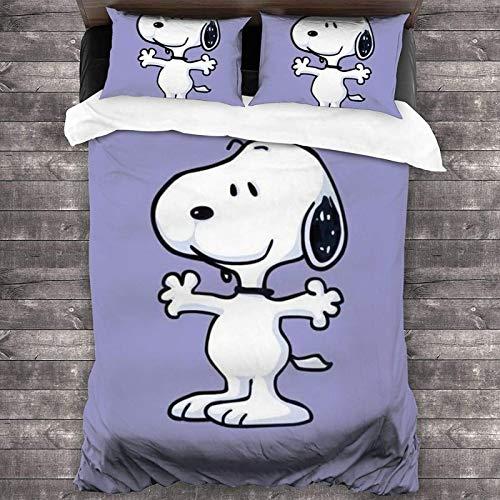 POMJK Snoopy Snoopy - Juego de cama de 3 piezas (funda nórdica y dos fundas de almohada (A1,140 x 210 cm + 50 x 75 cm)