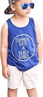 Benkeg Baby Boy Clothes for Summer Blue T-shirt & White Denim Shorts Beach Clothing for Toddlers Kids Children 9 Months to 4 Years Old