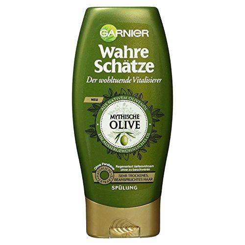 Garnier Wahre Schätze Spülung Mythische Olive, nährt und regeneriert sehr trockenes, beanspruchtes Haar, 200 ml