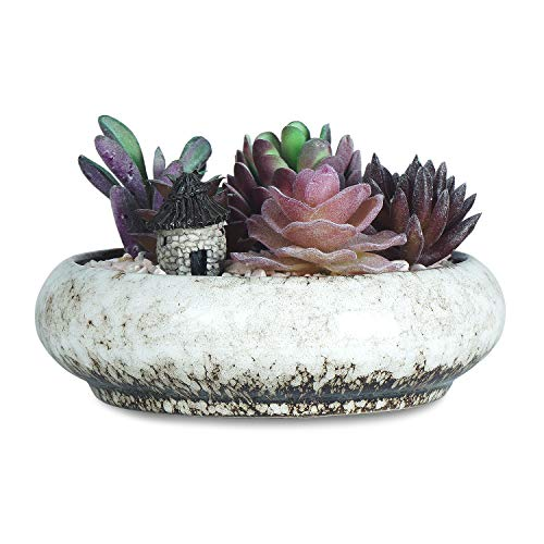 6.1 Inch Round Succulent Planter Pots with Drainage Hole Bonsai Pots Garden Decorative Cactus Stand Ceramic Glazed Flower Plant Container Bowl(White)