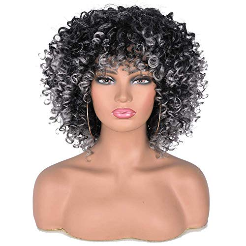 Short Gray Afro Curly Wigs with Bangs for Black Women Grey Kinky Curly Hair Wig Heat Resistant Full Wigs (Ombre Gray)