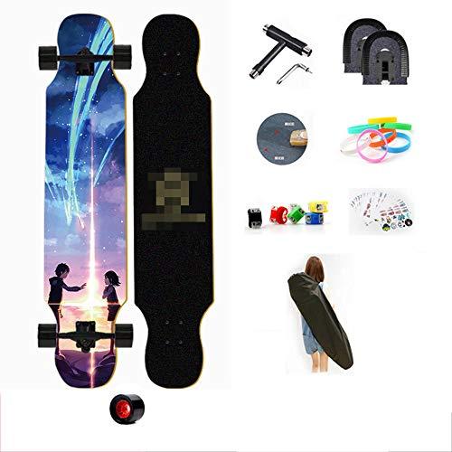 YSCYLY Skateboard Komplettboard,107cm Longboard Skateboard,Longboard Junge MäDchen Pinsel Street Dance Board