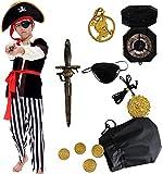 Costume da strega con 3 taglie: S (4-6 anni); M (6-8 anni); L (8-10 anni) Consegna: Costume da pirata con cappello; accessori da pirata compresi pirata eyepatch, pirata pugnale, pirata Bussola, pirata borsa, pirata orecchino, pirata Medaglione d'oro....