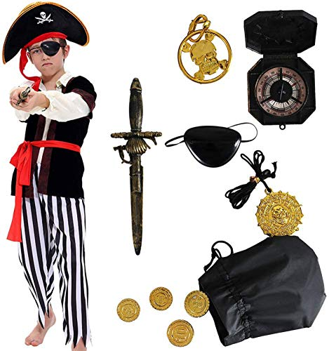 Tacobear Piratenkostüm Kinder Jungen mit Piraten Zubehöre Piraten Augenklappe Piraten Dolch Kompass Geldbeutel Ohrring Gold medasie Kinder Piraten Fancy Dress Kostüm Jungen (L 8-10 Jahre)