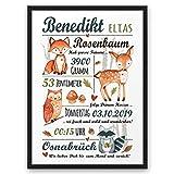 Waldtiere ABOUKI Kunstdruck Poster Geburtsbild mit Namen und Daten personalisiert Geschenk-Idee zur Geburt Taufe für Kinder Baby Junge optional mit Holz-Rahmen