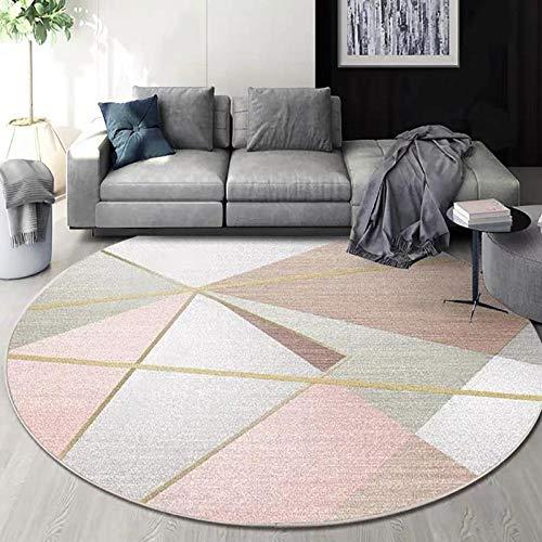 XOCKYE Moderner Runder Teppich Wohnzimmer-Teppich Schlafzimmer@160CM_Pink
