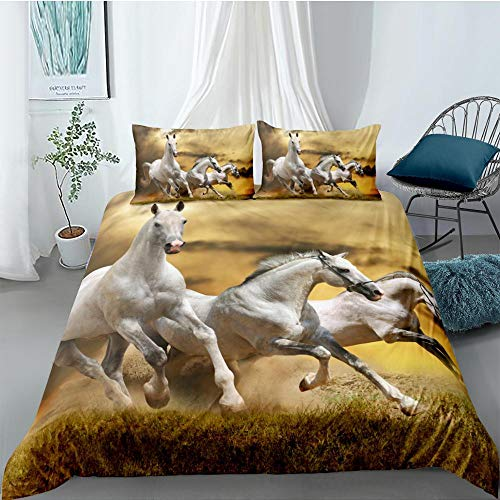 Youjiu Euro bedding set twin duvet cover pillowcases king queen size bedding set horse bed set-I_135x200cm2pcs