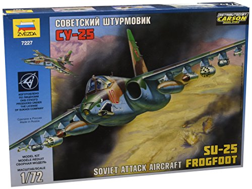 """ZVEZDA ZV7227 Plastic Model Unpainted Kit - Soviet Attack Aircraft SU-25 FROGFOOT - Scale 1/72 Lenght 9"""" 87 Parts"""