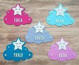 KARIVOO Nube y Estrella de madera MDF personalizada con el nombre para niño y niña para decorar dormitorio cama, puerta, armario
