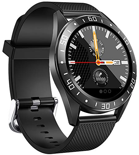 jpantech Smartwatch, Fitness Armband Tracker Voller 5ATM Wasserdicht Smart Watch Intelligente Aktivitäts Uhr Sportuhr, Damen Herren Schlafmonitor SMS Beachten Armbanduhr für Android iOS(Schwarz)