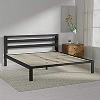 AmazonBasics Metal Bed with Modern Industrial Design Headboard