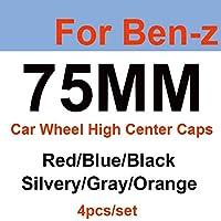 ホイール センター キャップ 4ピース75mmブルー/赤/黒/銀色/グレー/オレンジカーホイールセンターキャップ自動車ホイールハブキャップ互換性があります。 ホイールハブキャップ (Color : Silver)