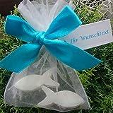 10 Stück - Gastgeschenk 2 Seifen Fische NATUR in Organza - GiveAway - Florex Schafmilchseife