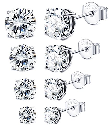Sllaiss 3-6MM Sterling Silver Cubic Zirconia Stud Earrings for Women Men Round Cut CZ Earrings Set Hypoallergenic (Platinum Plated)