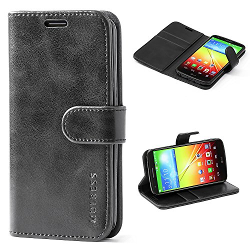 Mulbess LG G2 Protective Cover, Magnetic Closure RFID Blocking Luxury Flip Folio Leather Wallet Phone Case with Card Slots and Kickstand for LG G2, Black