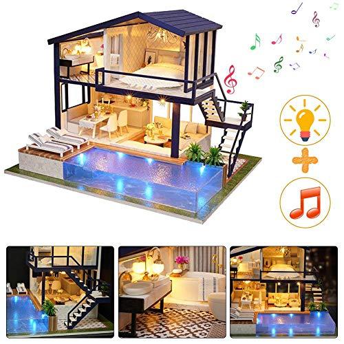 qianqian Puppenhaus-Miniatur Mit Möbeln, DIY-Puppenhaus-Kit Aus Holz, Einschließlich Musik Und LED-Licht, Kreativraum Im Maßstab 1: 24, Modell-Kreativgeschenke | Zeit Wohnung |