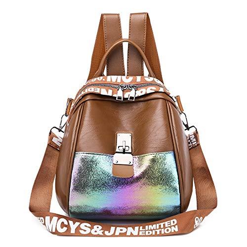 Volibear CRCOG La nueva bolsa de hombro femenina de moda coreana de ocio salvaje bolso de piel suave con cáscara de cuero suave CRCOG (color: marrón, tamaño: 24 x 24 x 15 cm)