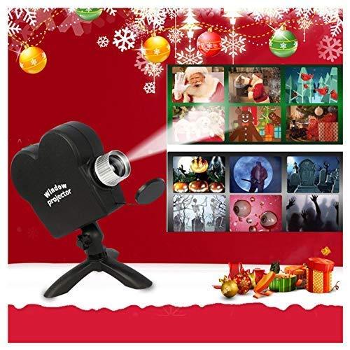 Halloween hologramm projektor, Hologramm projektor, Flutlichter für die Weihnachtsdekoration mit 6 Weihnachtsfilmen und 6 Halloween-Filmen für die Weihnachtsdekoration,Schwarz