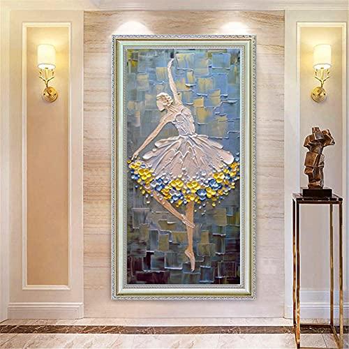 DIY 5D Pintura Diamante por Número Kit Chica de ballet Full Drill Diamond Painting Adultos Niños Cristal Rhinestone Bordado Punto De Cruz Lienzo Artesanía Hogar Pared Decor Regalo 40x80cm L1509