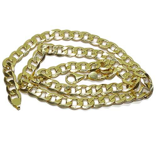 Zeer grote ketting voor mannen in 18 karaat geelgoud, bebaarde type 6-zijdige platte holle 1,00 cm breed en 60 cm lang met karabijnhaak Gewicht; 24.90gr 18k goud