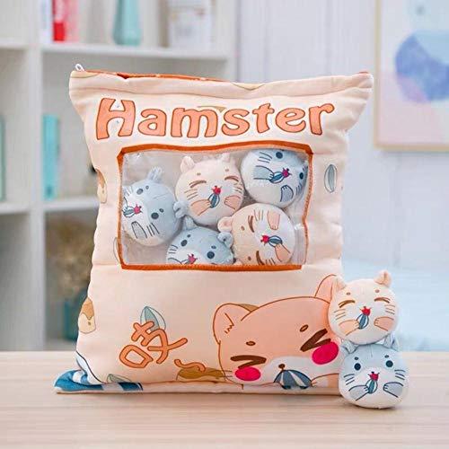 Junsansir 8pcs Mini Pinguin Plüschtier in einem kreativen Kissen gefüllt Kaninchen Corgi Hund Pudding Snacks gefüllt Spielzeug in einem Kissen Dekokissen,8pcs Hamster