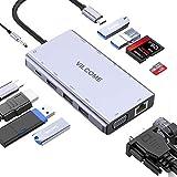 USB Type C ハブ、usb c hdmi vga変換アダプター 11in1 Vilcomeドッキングハブ 4K@30hz HDMI・VGA出力/PD 給電/ USB3.0×2/USB2.0×2 ハブ/SD・Micro SD カードリーダー/LANポート1000Mbps対応/3.5mmオーディオ MacBook/MacBook Air (2018) / MacBook Pro/ChromeBook他対応