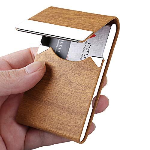 DMFLY Business Card Holder, Business Card Case, Business Card Holder for Women and Men, Business Card Holder for Purse, Business Card Case Women, Magnetic Shut (Apricot)