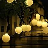 Guirnaldas Luces Exterior Solar Luces LED Navidad, 60LED 10M 8 Modos IP65 Impermeable Cadena de Luce...