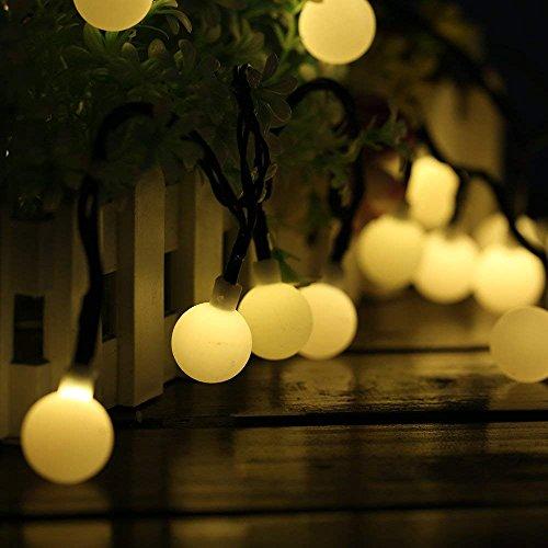 Guirnaldas Luces Exterior Solar Luces LED Navidad, 60LED 10M 8 Modos IP65 Impermeable Cadena de Luces Decoracion, Luces Solares LED Exterior Jardin para Navidad, Boda, Fiesta, Festival, Jardin